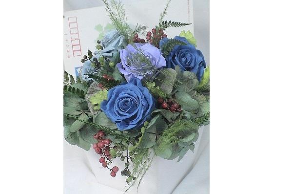 ご友人の結婚お祝いにサムシングブルーのお花をご希望